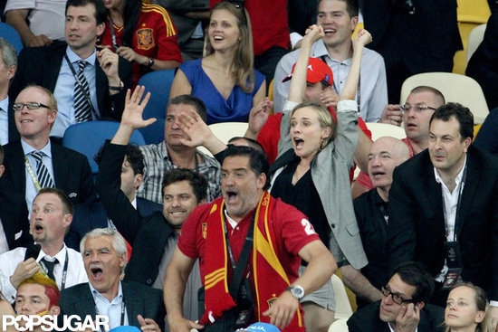 Joshua Jackson and Diane Kruger Cheer on Spain to a European Championship