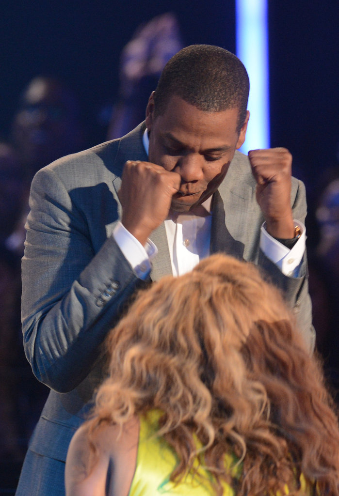 Jay-Z joked with wife Beyoncé Knowles on stage at the BET Awards in LA.