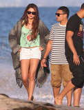 Selena Gomez walked along the beach with a friend in Malibu.