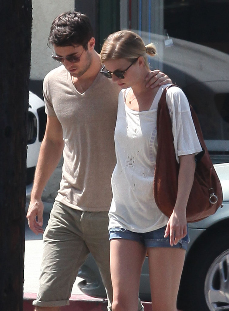 Emily VanCamp held onto Joshua Bowman leaving brunch in LA.