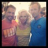 Jennie Garth caught up with her former Beverly Hills, 90210 costars Jason Priestley and Luke Perry in June. Source: Instagram user jenniegarth