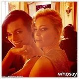 Elizabeth Banks posed with Milla Jovovich at the Versace Couture show in Paris. Source: Elizabeth Banks on WhoSay