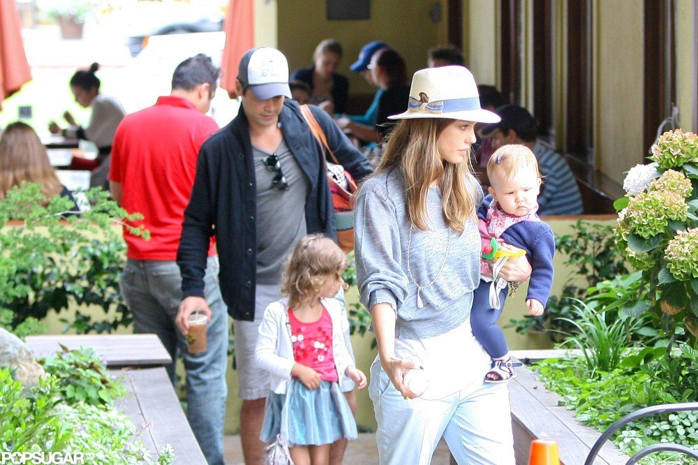Jessica Alba and Cash Warren went out with Haven Warren and Honor Warren.