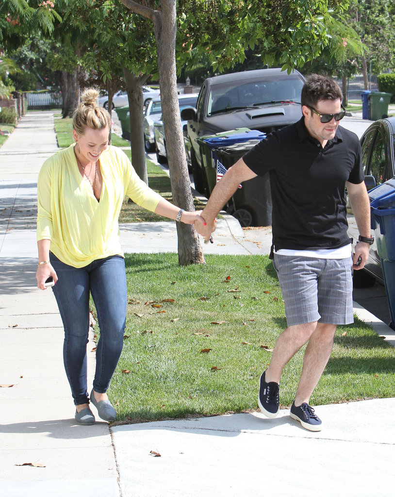Hilary Duff and Mike Comrie headed out of their LA home to celebrate the holiday.