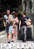 Anne Hathaway stuck close to the guys as they walked together in NYC.
