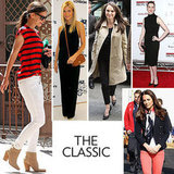 You've got an affinity for the classics. Season after season, you may test-drive a few trends, but you'll always return to the staples. If we were to go hunting around in your closet, we could most assuredly find a staple white button-down, a classic blazer, and a pair of basic skinny jeans — you always cover your bases with never-go-out-of-style essentials, and this season, you're likely restocking with a great pair of espadrilles and a perfect LWD. Still, like icons Gwyneth Paltrow and Katie Holmes, you also know how to step up your style game.  Icons: Of course, you draw inspiration from the legends like Jacqueline Kennedy Onassis and Grace Kelly, but the new classicists like Katie and Gwyneth have a contemporary twist on the traditional that you love. Key Pieces: A navy blazer, LBD and LWD, straight-leg denim, and pointed-toe pumps. Hot Spots: Ralph Lauren and Tommy Hilfiger cater to your appetite for higher-end Americana, while contemporary retailers like Club Monaco and Zara will have just what you need to outfit your everyday look. In this photo (clockwise from left): Katie Holmes, Gwyneth Paltrow, Natalie Portman, Anne Hathaway, Kate Middleton