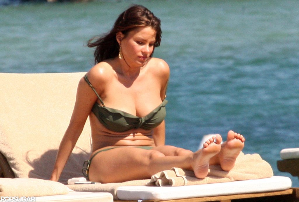 Sofia Vergara worked on her tan in Porto Cervo in July 2010.