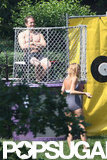 Ryan Reynolds sat in the dunk tank waiting for Blake Lively in New York.