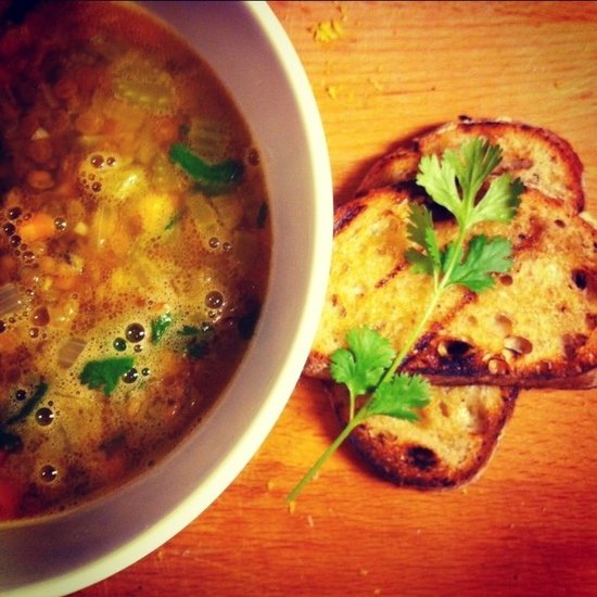 Summery Lentil Soup and Grilled Garlic Bread