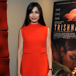 Freida Pinto Wearing a Red Mod Dress