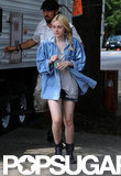 Dakota Fanning arrived on the set of Very Good Girls in NYC.