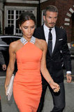 Victoria Beckham and David Beckham went out in London.