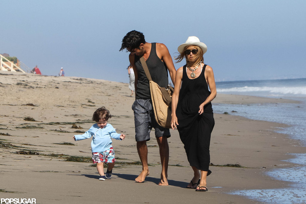 Skyler Berman ran along the beach with mom Rachel Zoe and a friend.