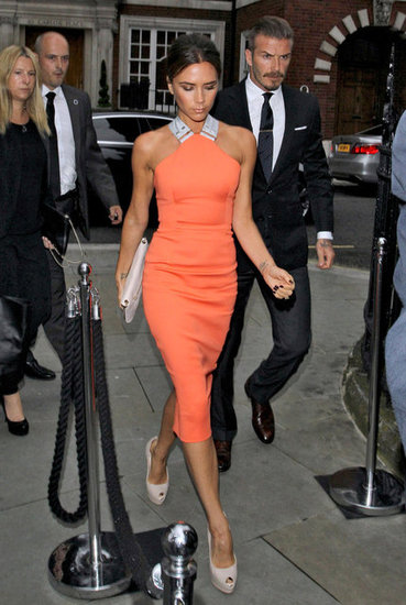 Victoria Beckham and David Beckham went to a London bash.