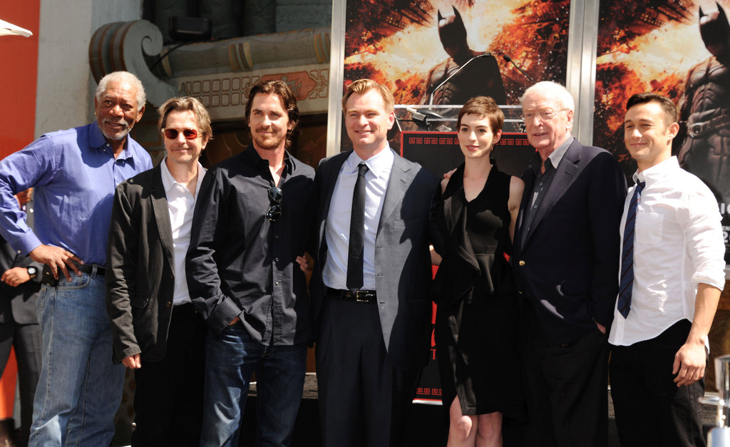 Morgan Freeman, Gary Oldman, Christian Bale, Anne Hathaway, Michael Caine, and Joseph Gordon-Levitt got together to support Christopher Nolan at his hand and footprint ceremony in LA.