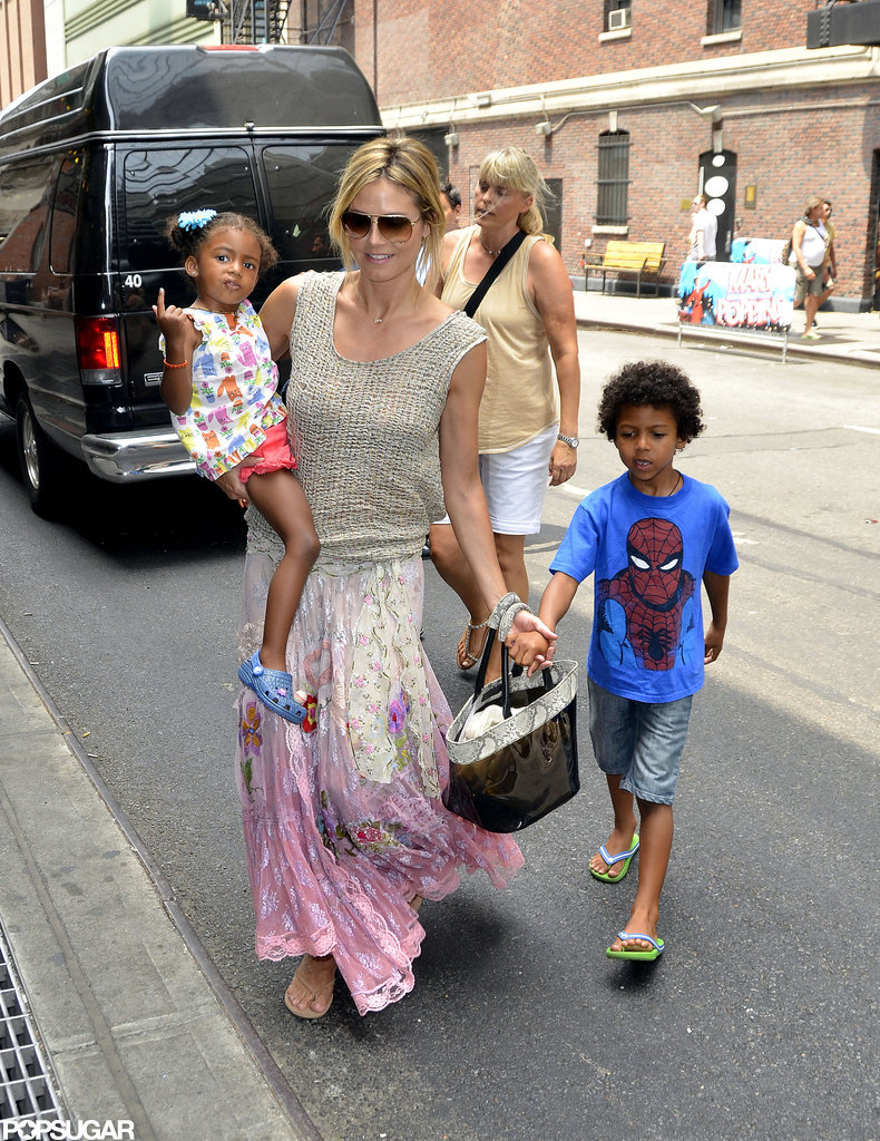 Heidi Klum looked like a happy mom as she spent the day with her kids in NYC.