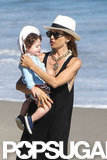 Rachel Zoe held Skyler on the beach in Malibu.