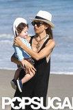 Rachel Zoe held Skyler on the beach in Malibu.