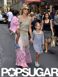 Heidi Klum walked through Times Square in NYC with Leni and Lou.