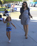 Seraphina Affleck played on her way to get frozen yogurt.