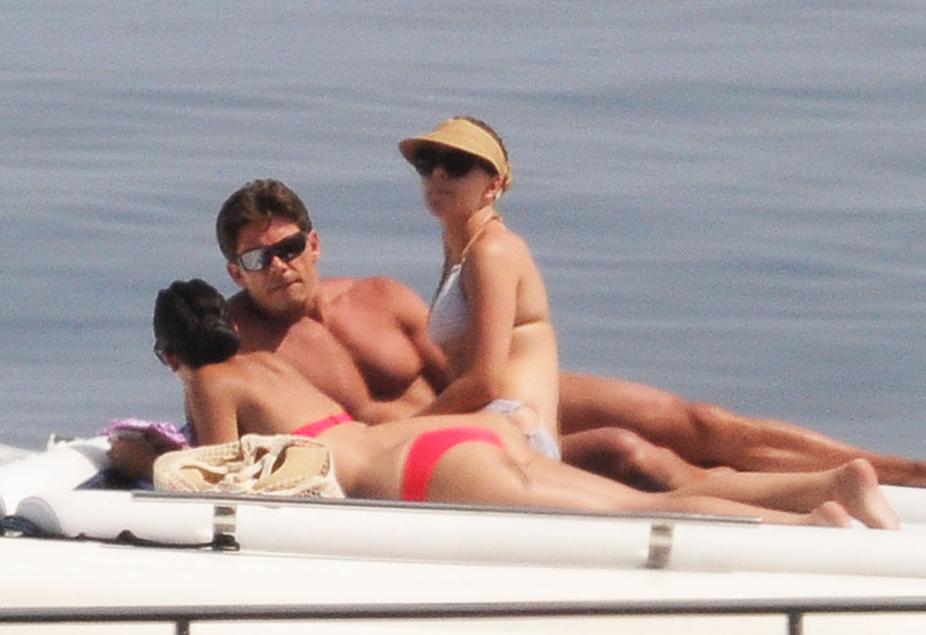 Scarlett Johansson hung out with friends on a yacht.