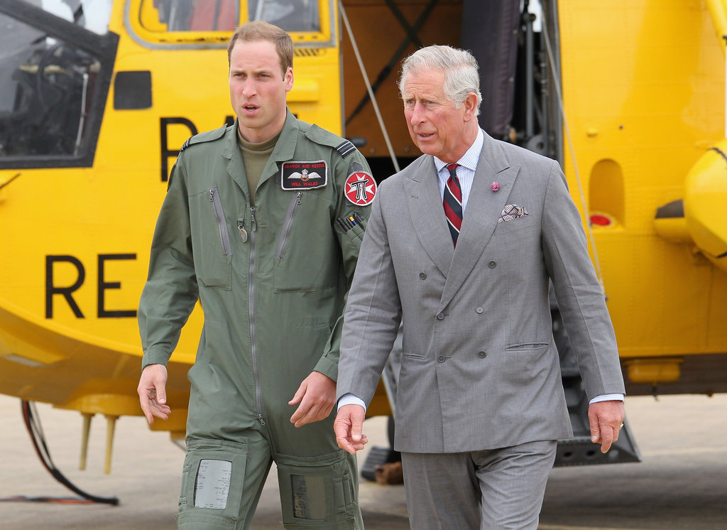 Prince Williams wore his uniform while showing his father around the base.