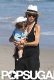 Rachel Zoe and Skyler spent the day at the beach in Malibu.