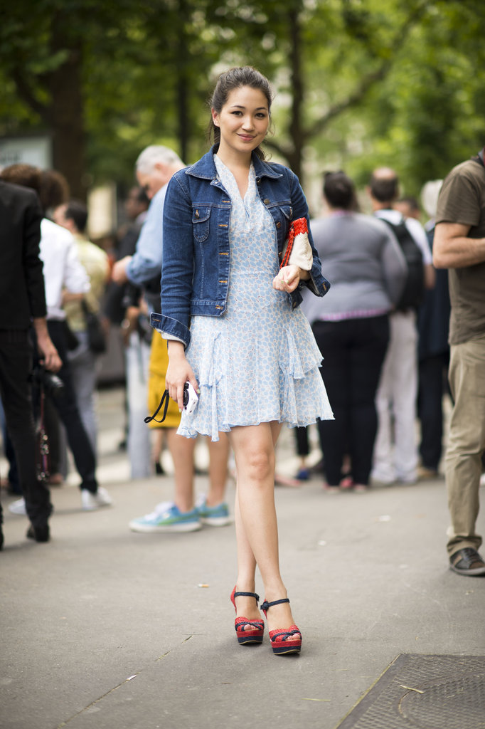 Look to Summer staples, like a denim jacket and Americana-themed footwear, to style up a vintage-feeling dress. Photo courtesy of Adam Katz Sinding