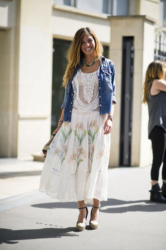 Let denim add an American-girl twist to your daintiest of dresses. Photo courtesy of Adam Katz Sinding