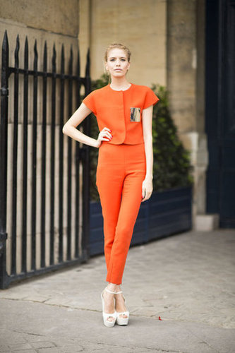 This is everyday polish to the nth degree. The trick? Perfect proportions, a tangerine hue, and major platforms gave this look its posh power. Photo courtesy of Adam Katz Sinding