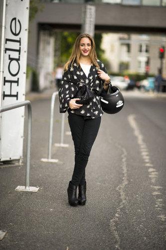 A kimono-style jacket transforms basic black pants. Photo courtesy of Adam Katz Sinding