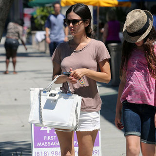 Rachel Bilson Wearing White Denim Cutoffs