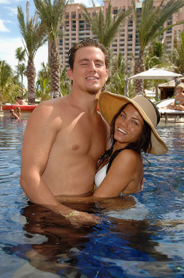Channing Tatum and Jenna Dewan took a dip while celebrating the July 2007 opening of Cain at the Cove Atlantis.
