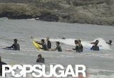 Prince William and Prince Harry headed out into the surf in the English town of Cornwall.