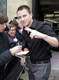 Channing Tatum gave the peace sign in London.
