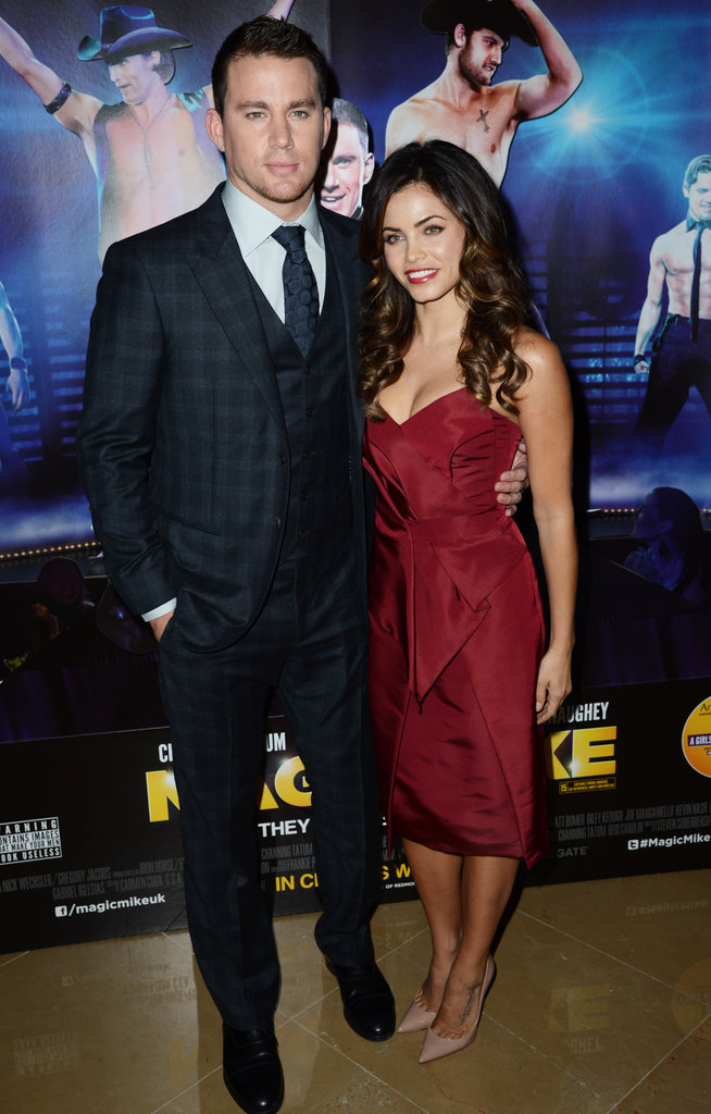 Channing Tatum and Jenna Dewan posed together at the Magic Mike premiere in London.