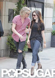 Jamie Campbell Bower and Lily Collins walked around Toronto.