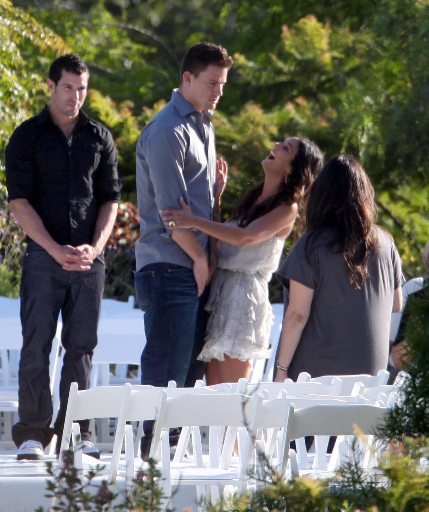 Channing Tatum and Jenna Dewan shared a laugh at their Malibu, CA, wedding rehearsal in July 2009.
