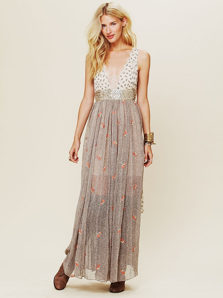 Patterned chiffon, sheer details, scalloped laced, and lace insets? This dreamy maxi dress is the perfect mix of day cool and evening gorgeous. Free People New Romantics Pennies From Heaven Dress ($350)