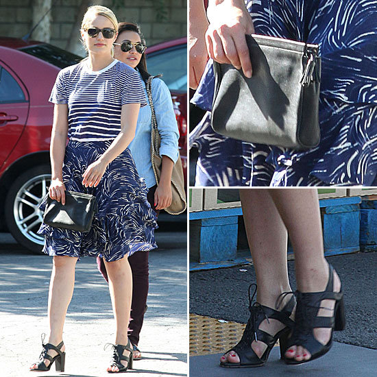 Dianna Agron Wearing Striped T-Shirt