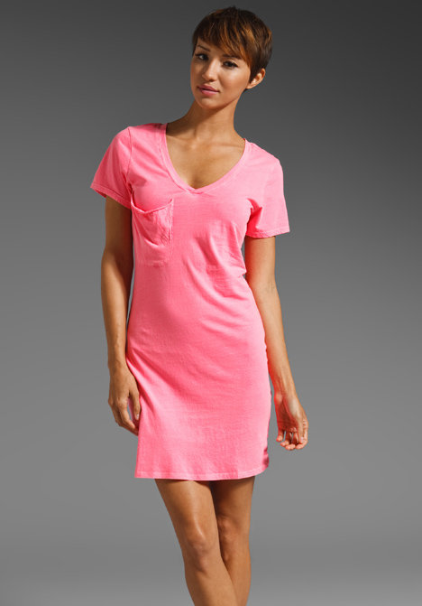 Add ankle boots and a denim vest for that everyday cool-girl effect. Bobi Supreme Jersey V Neck T Shirt Dress ($39)