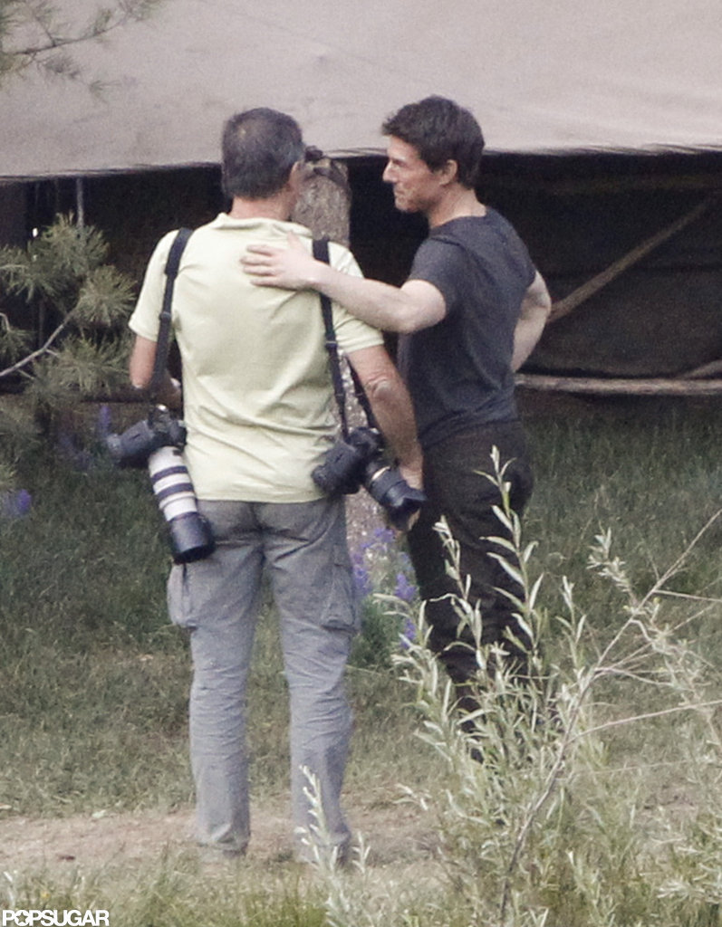 Tom Cruise talked with photographer David James on the set of Oblivion in June Lake, CA.