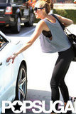 Miley Cyrus wore a loose top.