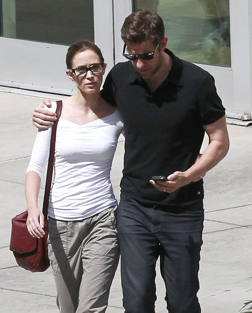 Emily Blunt sported glasses while John Krasinski wore shades.
