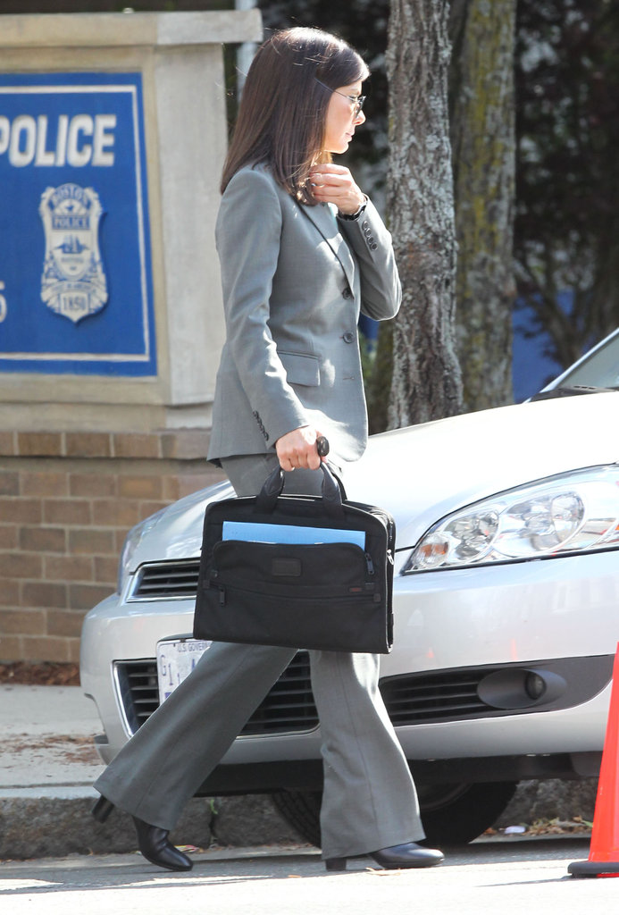 Sandra Bullock wore a suit on set.