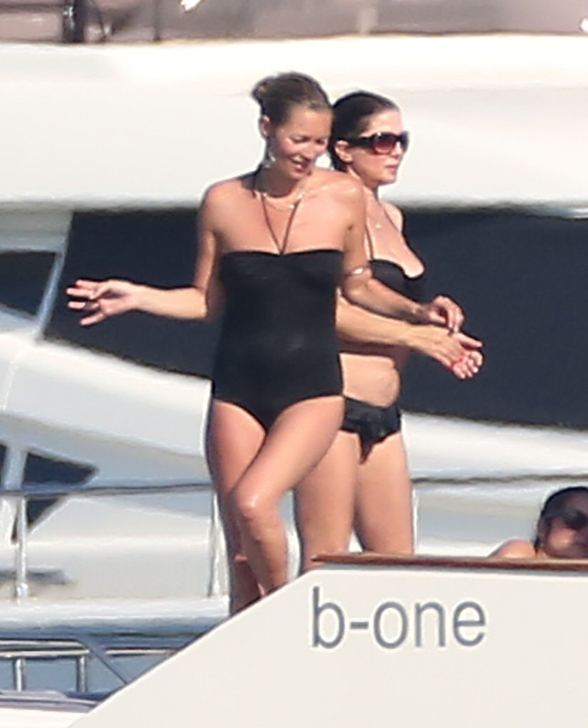 Kate Moss Throws on Her Swimsuit For Swimming and PDA With Her Silly Husband