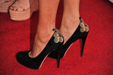 Not just any old pair of black pumps! Freida opted for a gold-accented Brian Atwood pump at the NYC screening of Trishna.