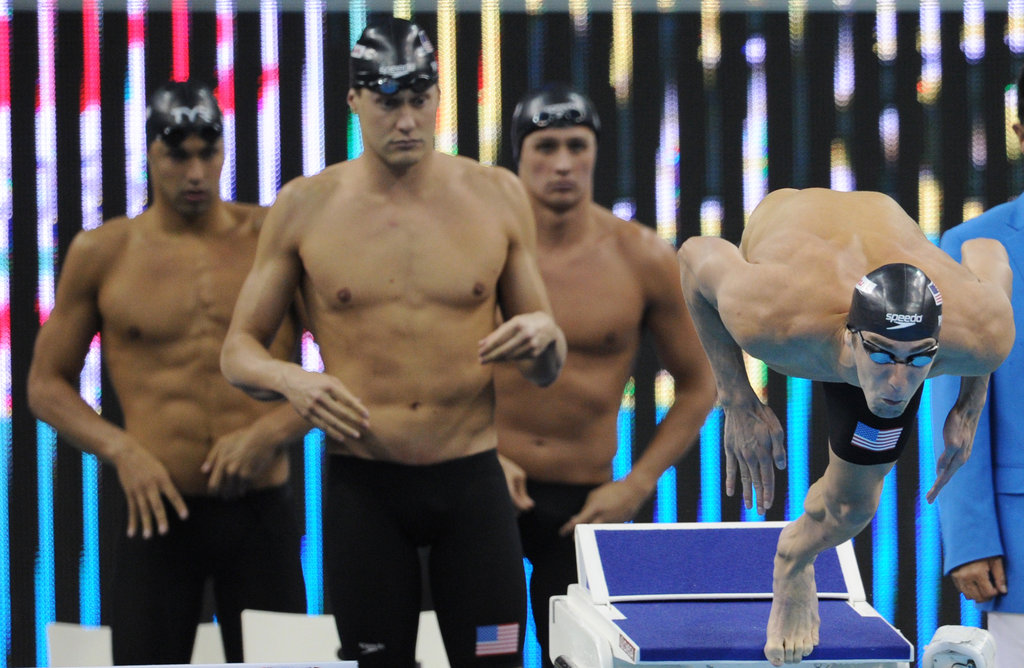 Ricky Berens, Peter Vanderkaay, Ryan Lochte, and Michael Phelps