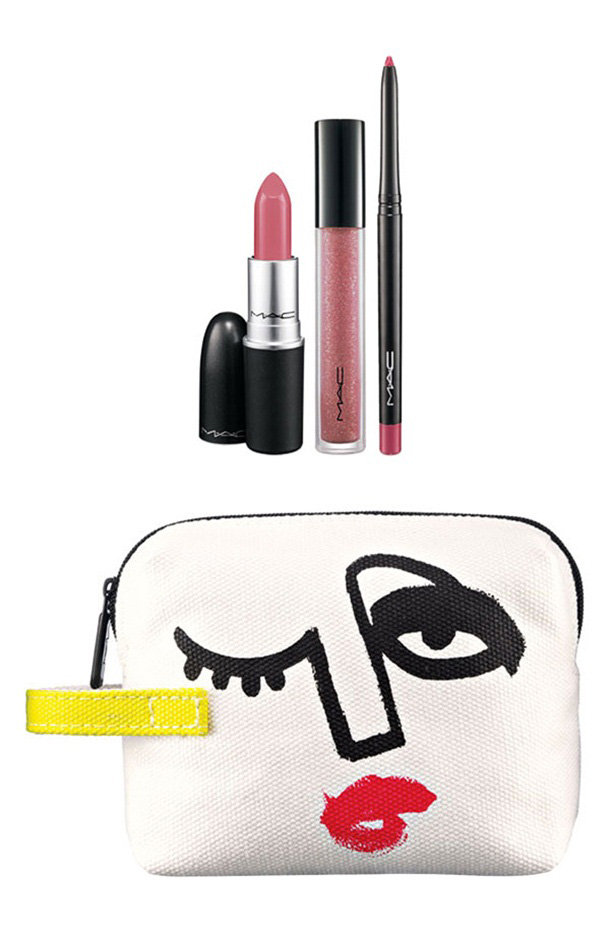 Triple Feature Lip Bag in Pink