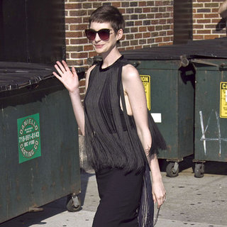Anne Hathaway Wearing a Black Fringe Dress